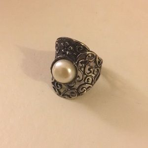 Sterling Silver Pearl Wide Open Scrollwork Ring
